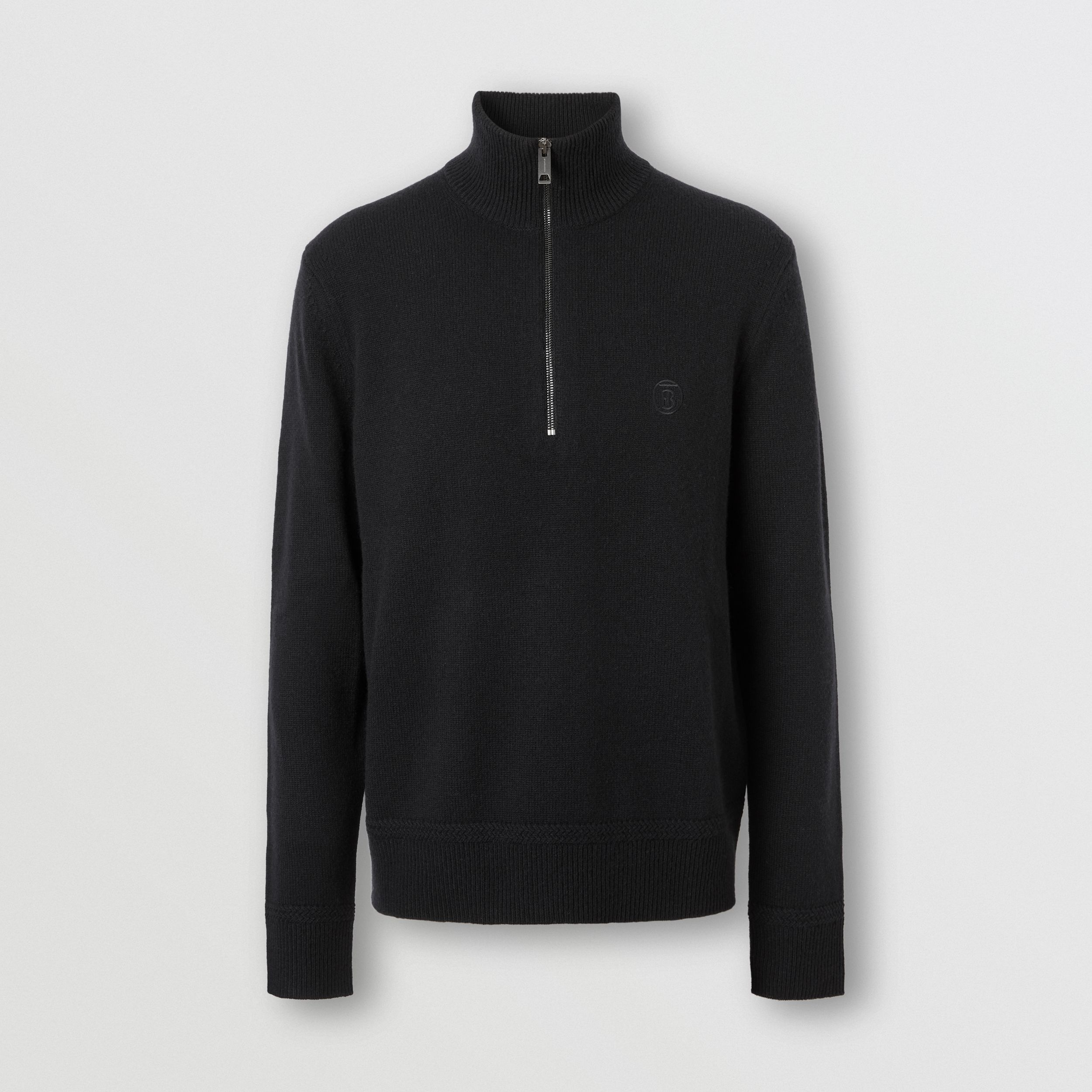 Monogram Motif Cashmere Funnel Neck Sweater in Black - Men | Burberry - 4