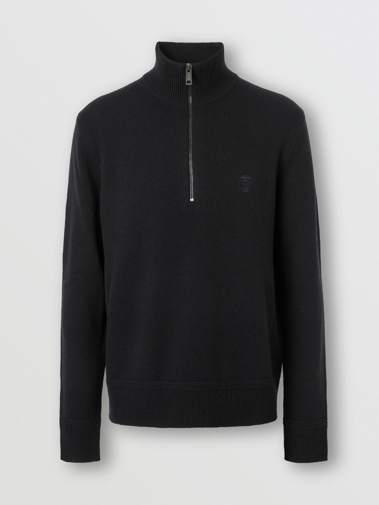 Monogram Motif Cashmere Funnel Neck Sweater in Black