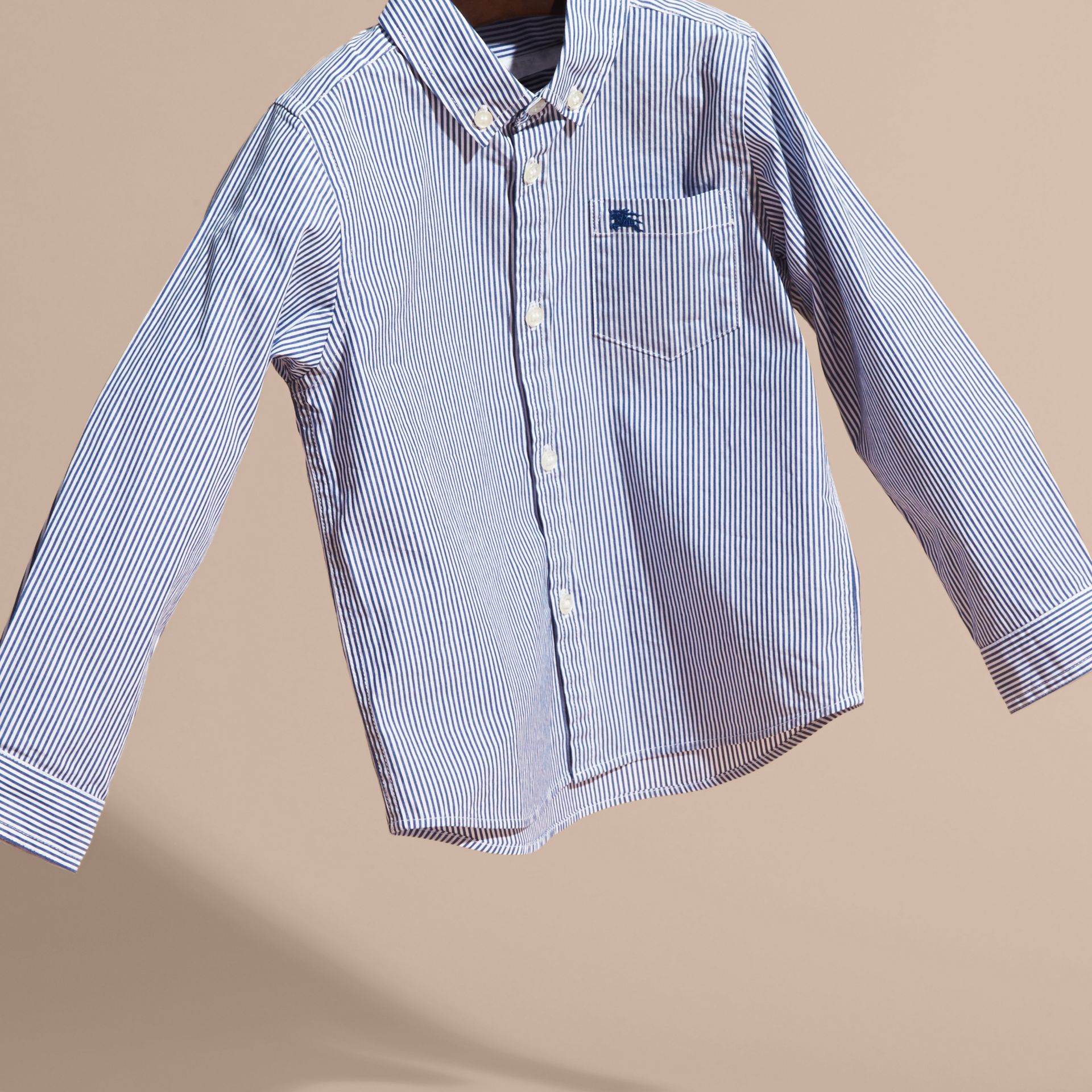 Marine blue Striped Stretch Cotton Shirt - gallery image 3