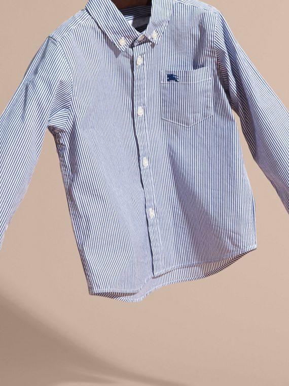 Marine blue Striped Stretch Cotton Shirt - cell image 2