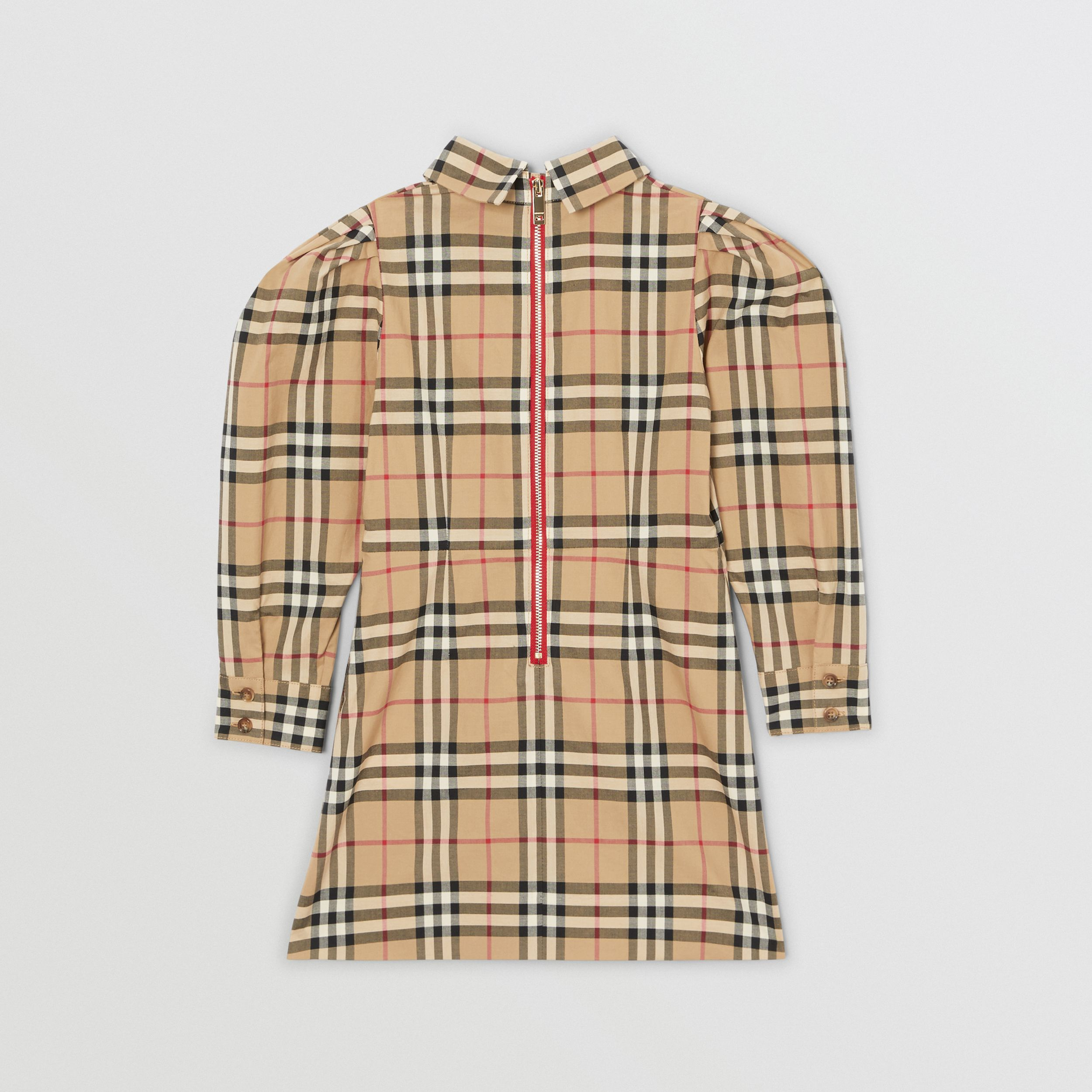 Puff-sleeve Vintage Check Cotton Dress in Archive Beige | Burberry - 4