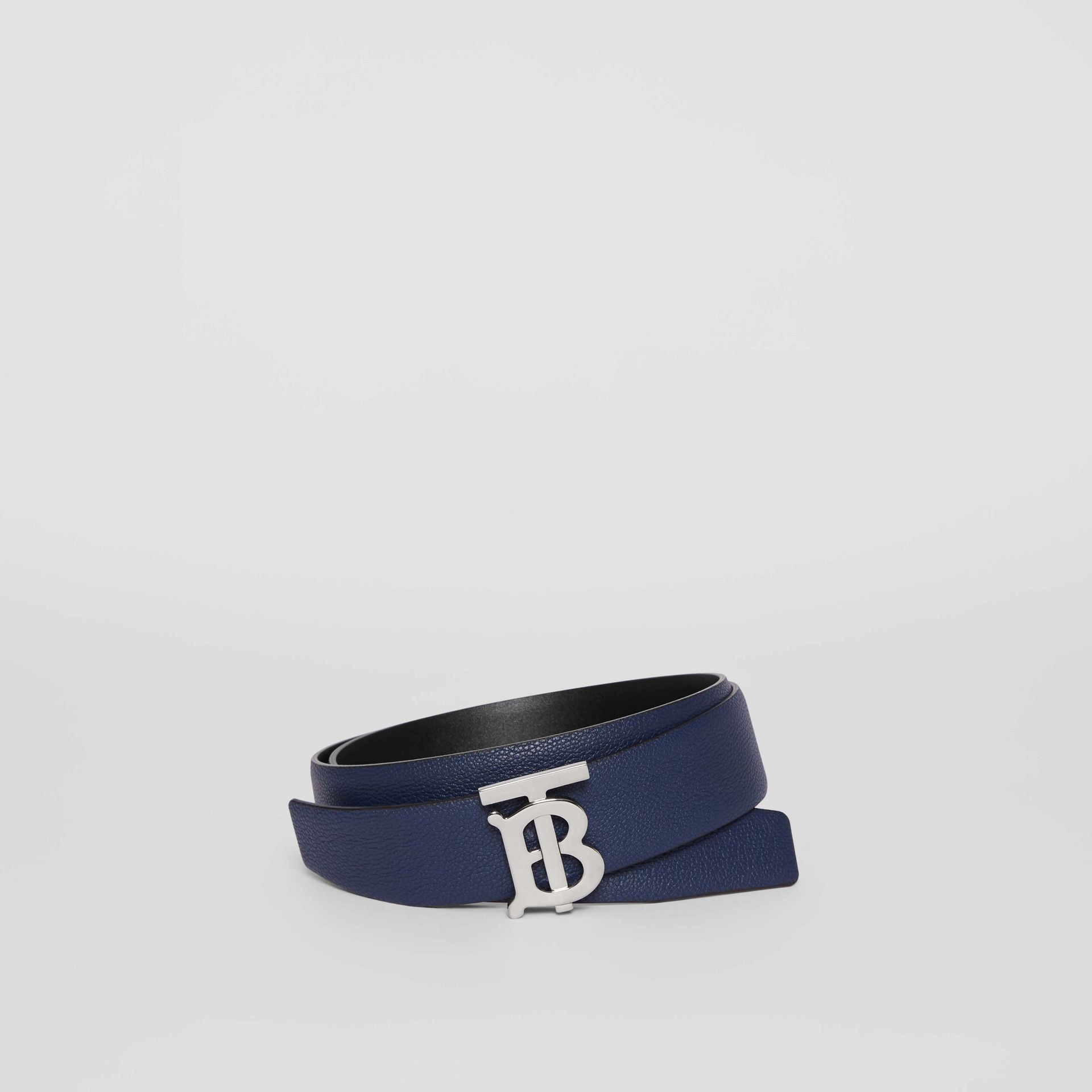 Reversible Monogram Motif Leather Belt in Navy/black - Men | Burberry United Kingdom - gallery image 0