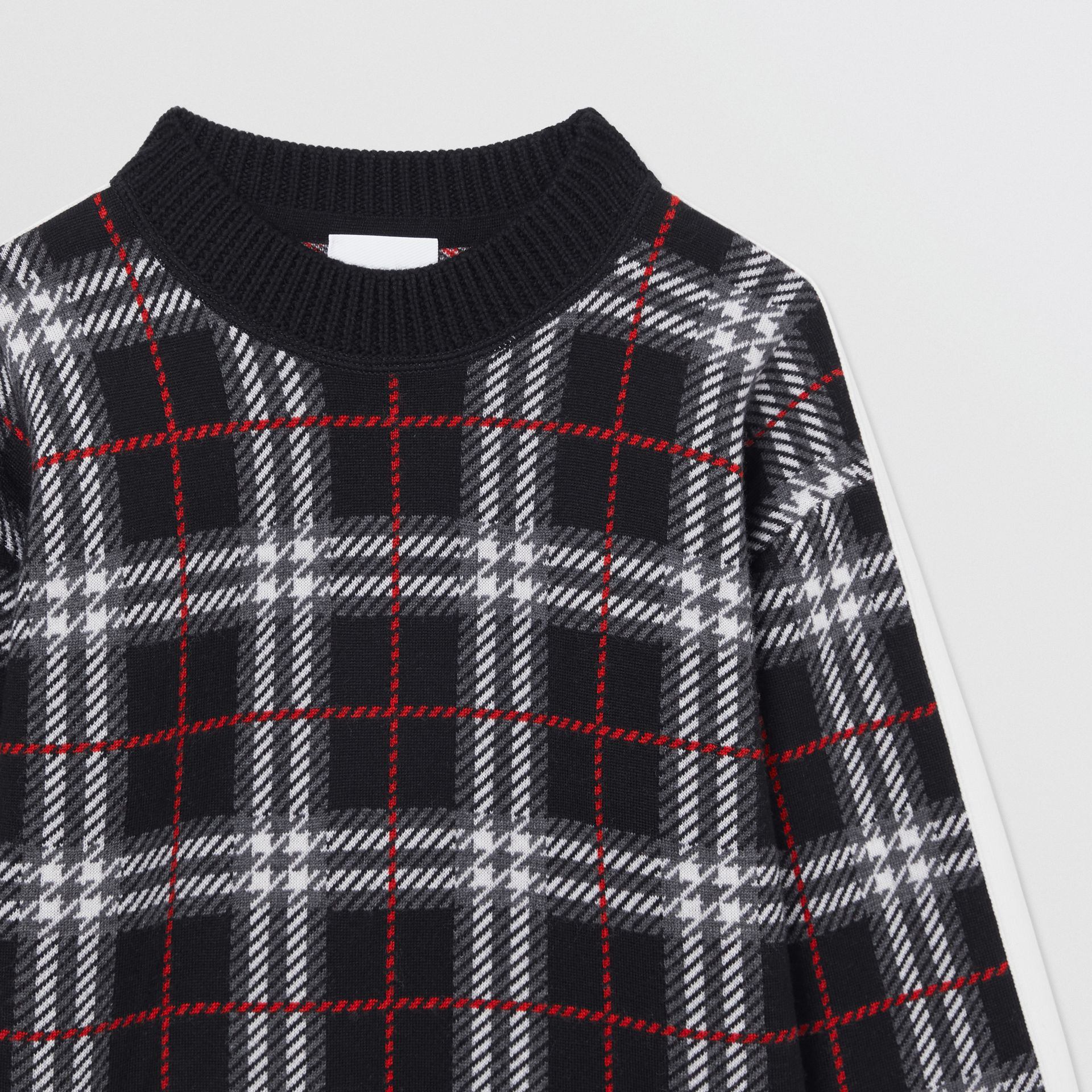 Check Merino Wool Jacquard Sweater in Black | Burberry - gallery image 1