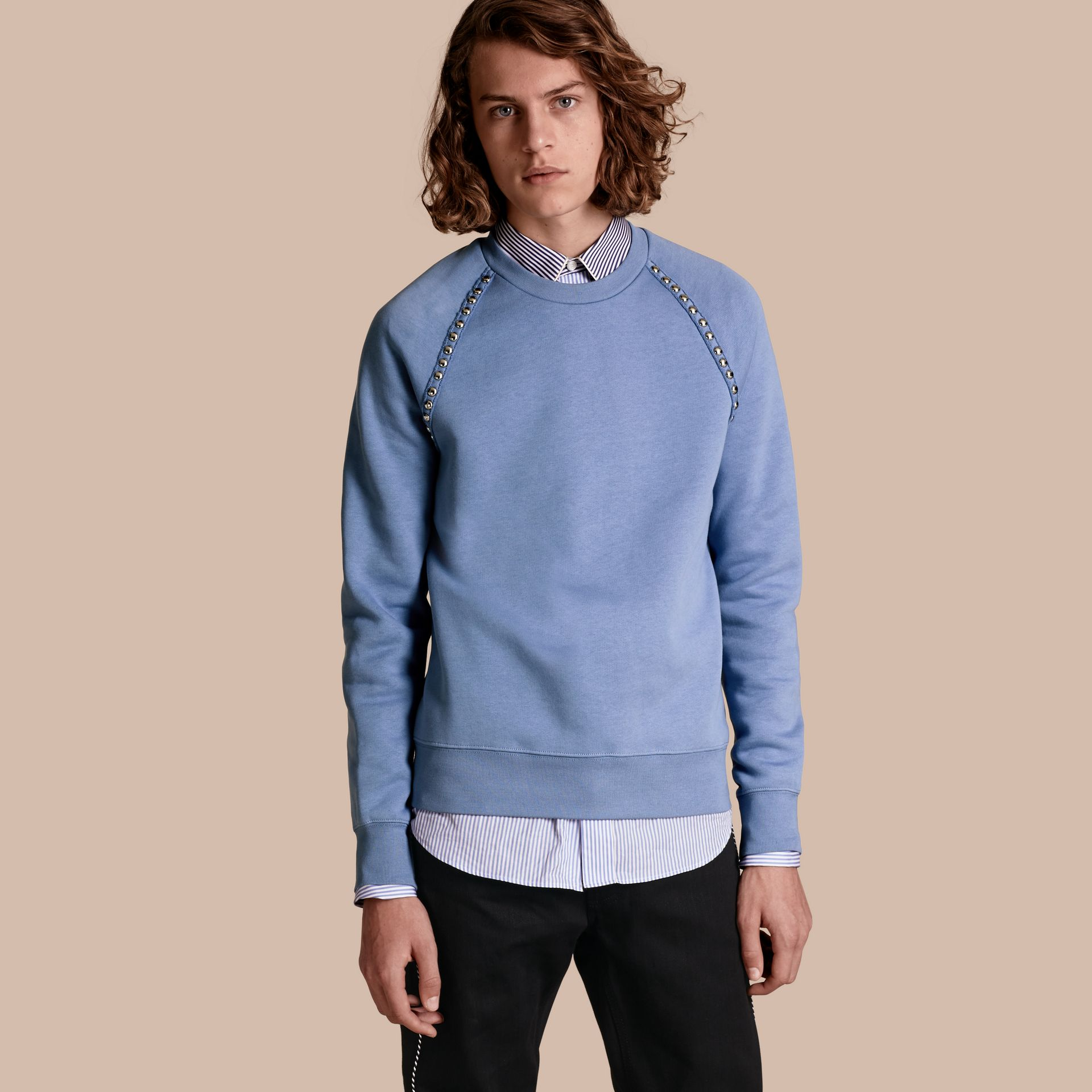 Light blue Stud Detail Cotton-blend Sweatshirt - gallery image 1