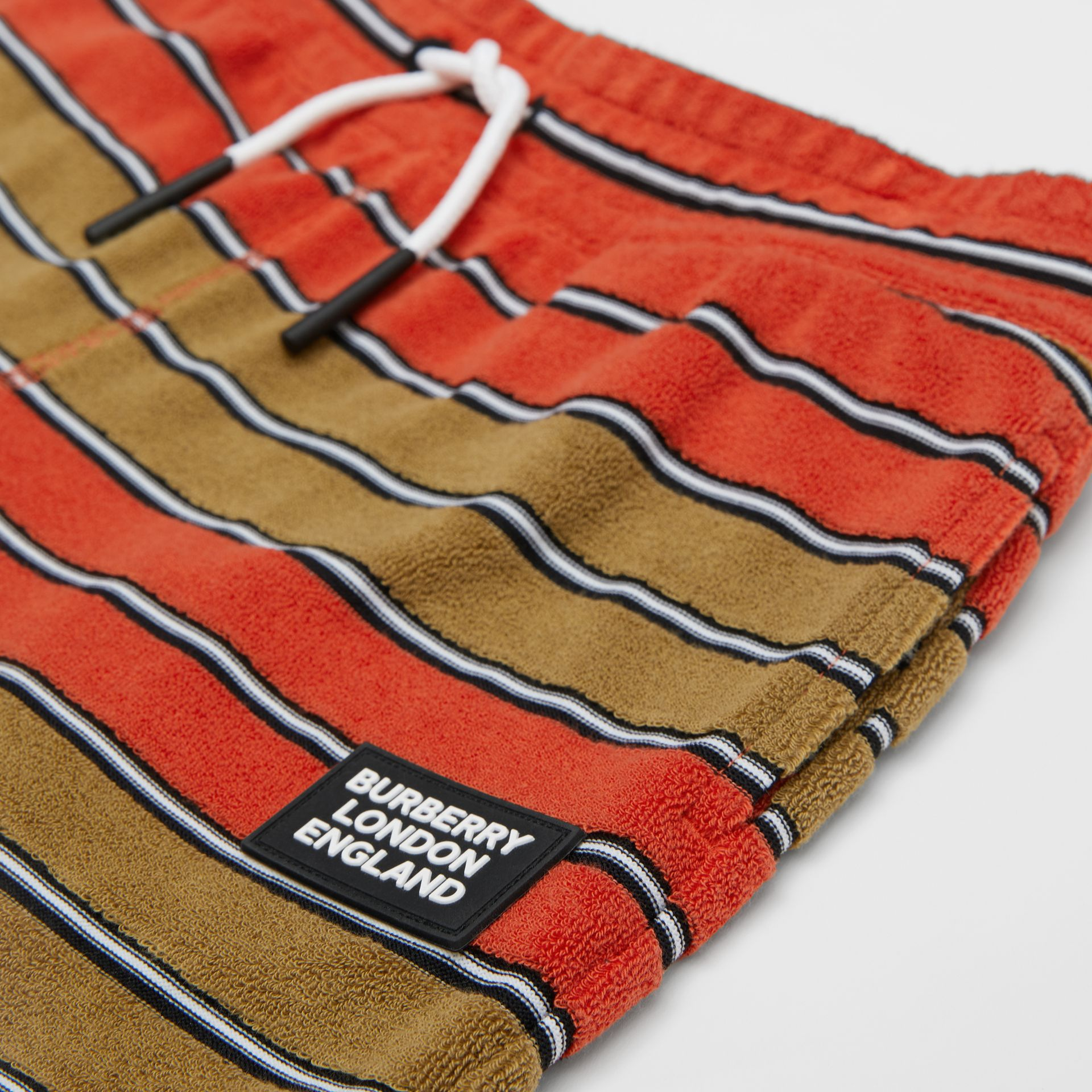 Logo Appliqué Striped Towelling Shorts in Vermilion Red | Burberry - gallery image 1