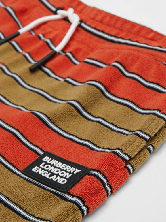 Logo Appliqué Striped Towelling Shorts in Vermilion Red | Burberry - cell image 1