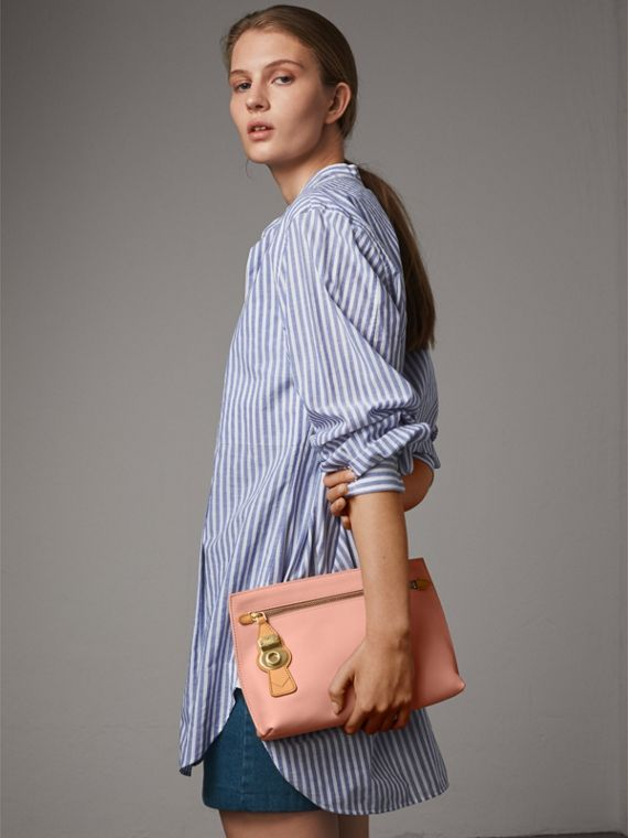 Two-tone Trench Leather Wristlet Pouch in Ash Rose/pale Clementine - Women | Burberry United Kingdom - cell image 2