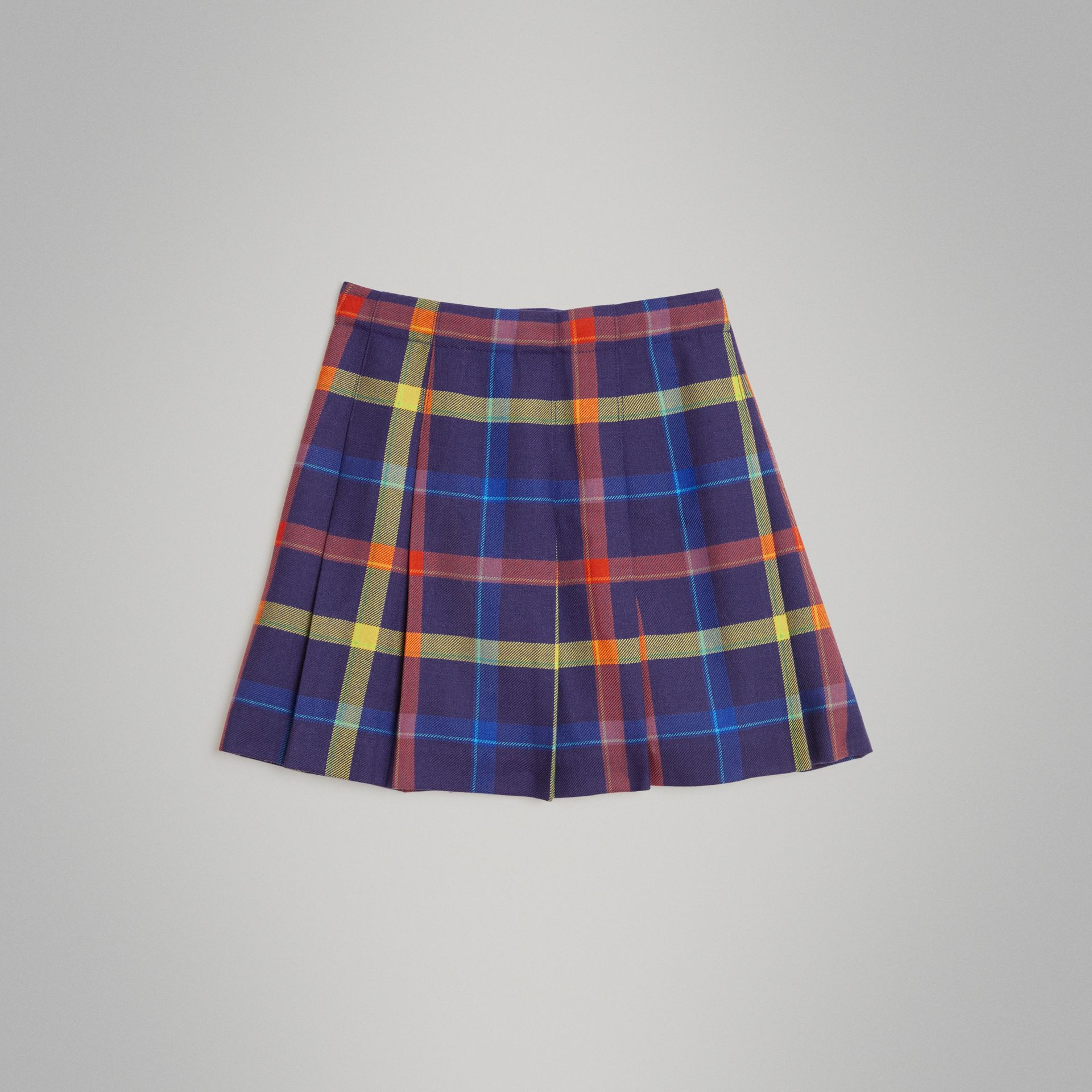 Fringe Detail Tartan Wool Kilt in Bright Navy | Burberry Canada - gallery image 3