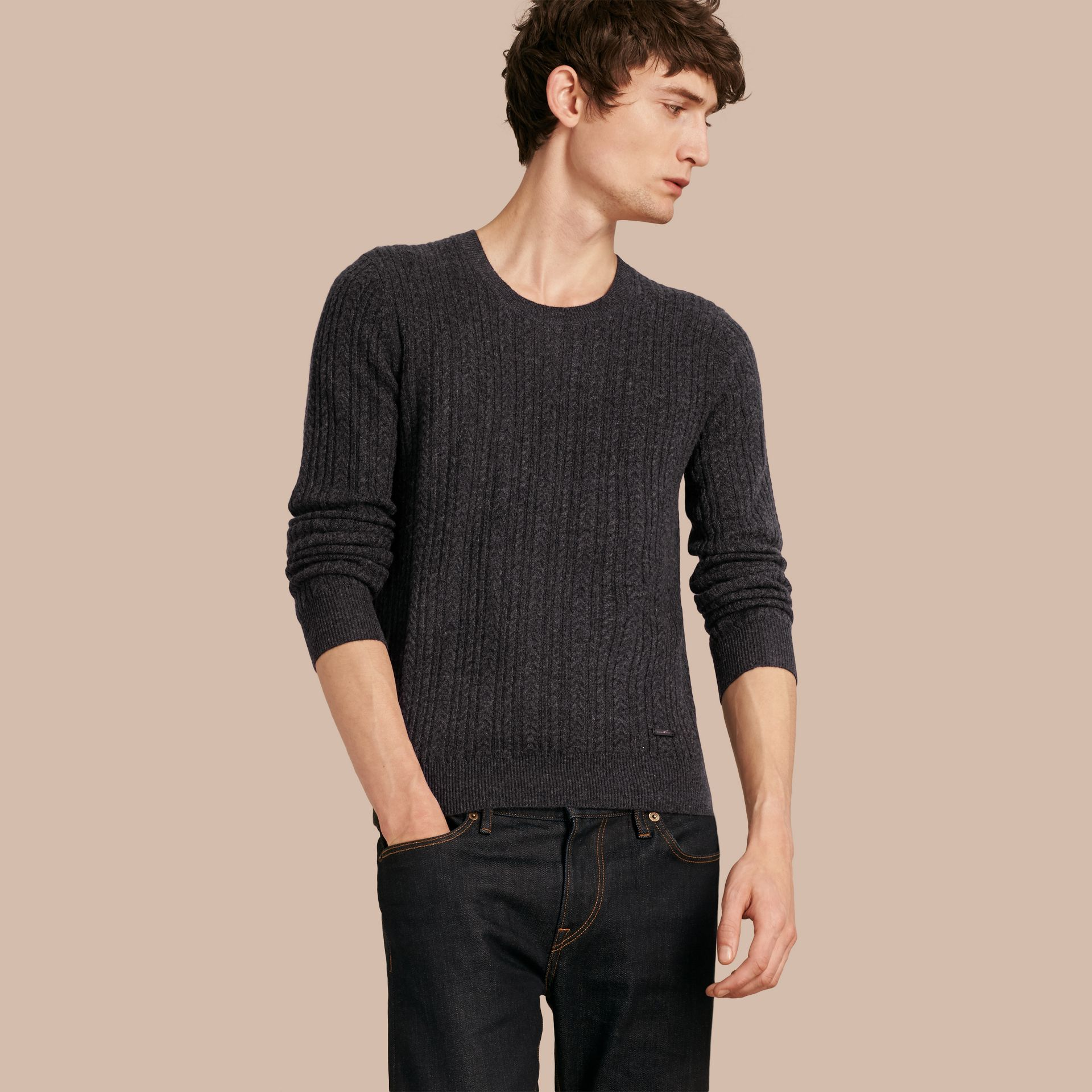 Aran Knit Cashmere Sweater in Charcoal - gallery image 1
