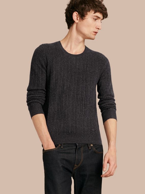 Aran Knit Cashmere Sweater in Charcoal