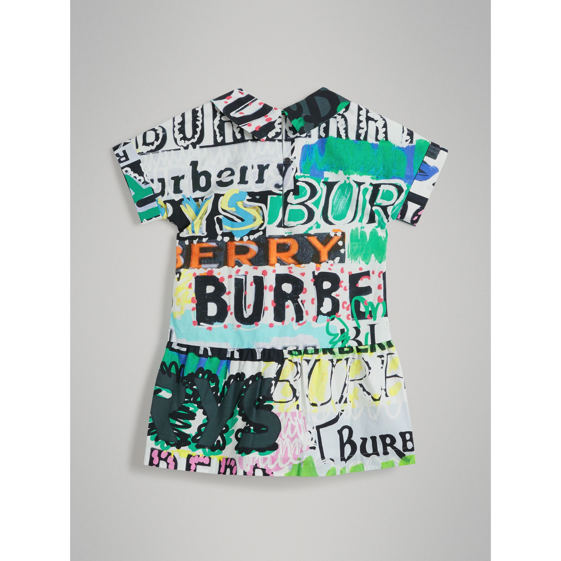Graffiti Logo Print Cotton Drawcord Dress in Multicolour - Girl | Burberry - gallery image 3