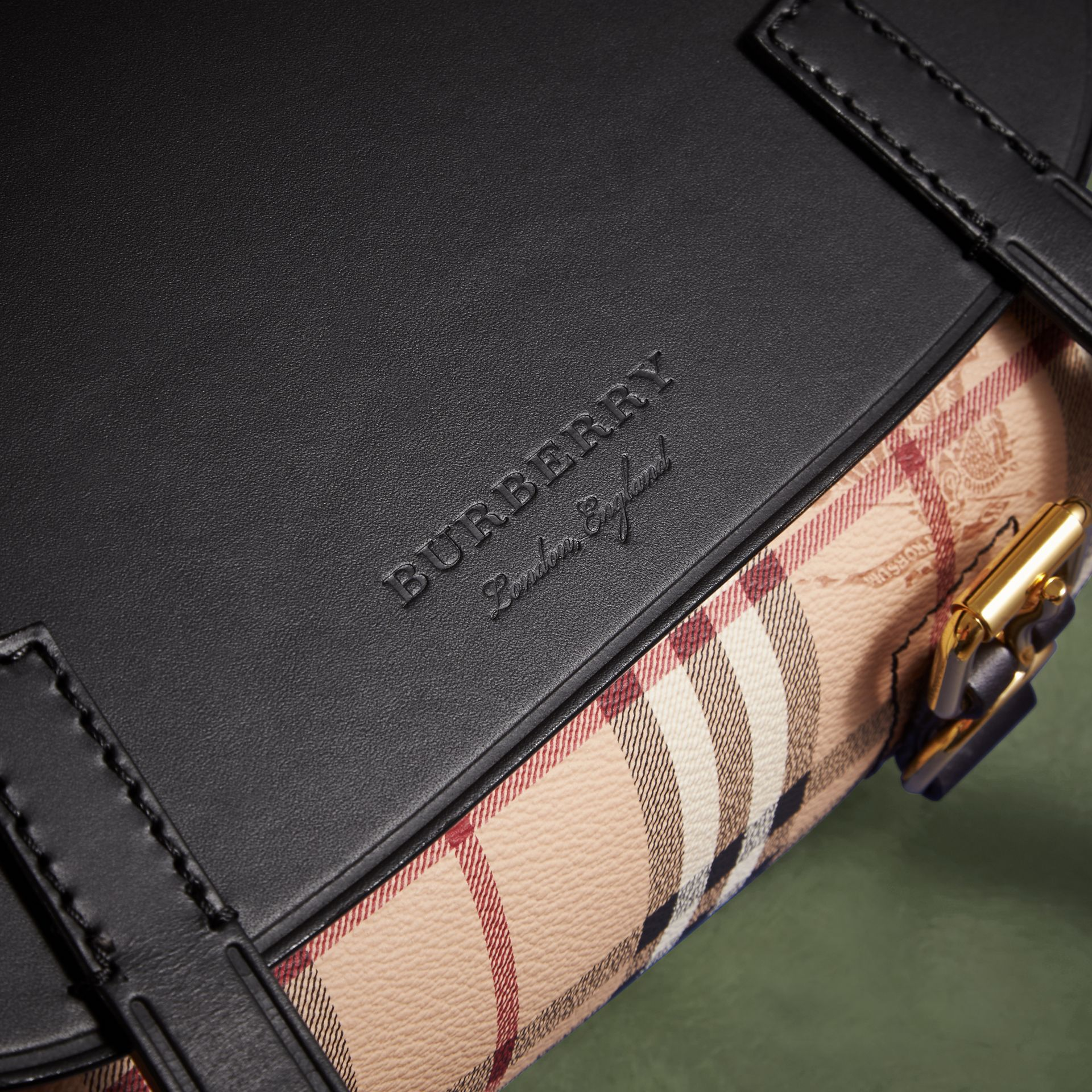 The Small Bridle Bag in Leather and Haymarket Check in Black - Men | Burberry - gallery image 2