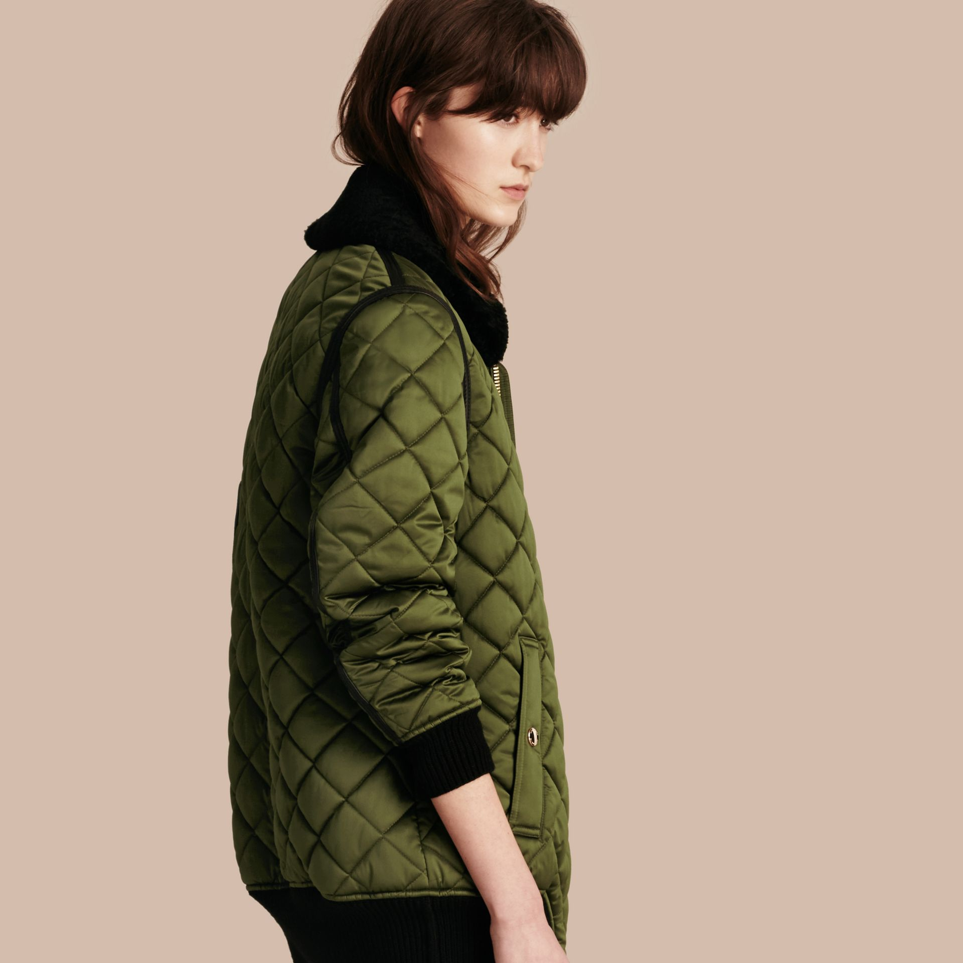 Bright moss green Long Quilted Bomber Jacket with Shearling Collar - gallery image 1