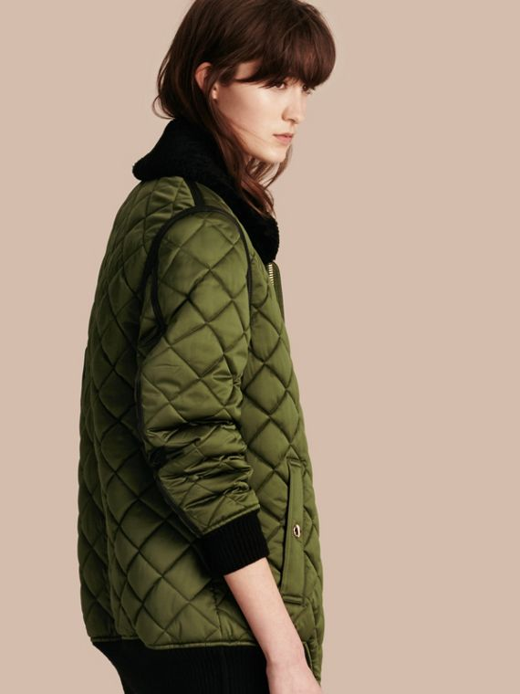 Long Quilted Bomber Jacket with Shearling Collar