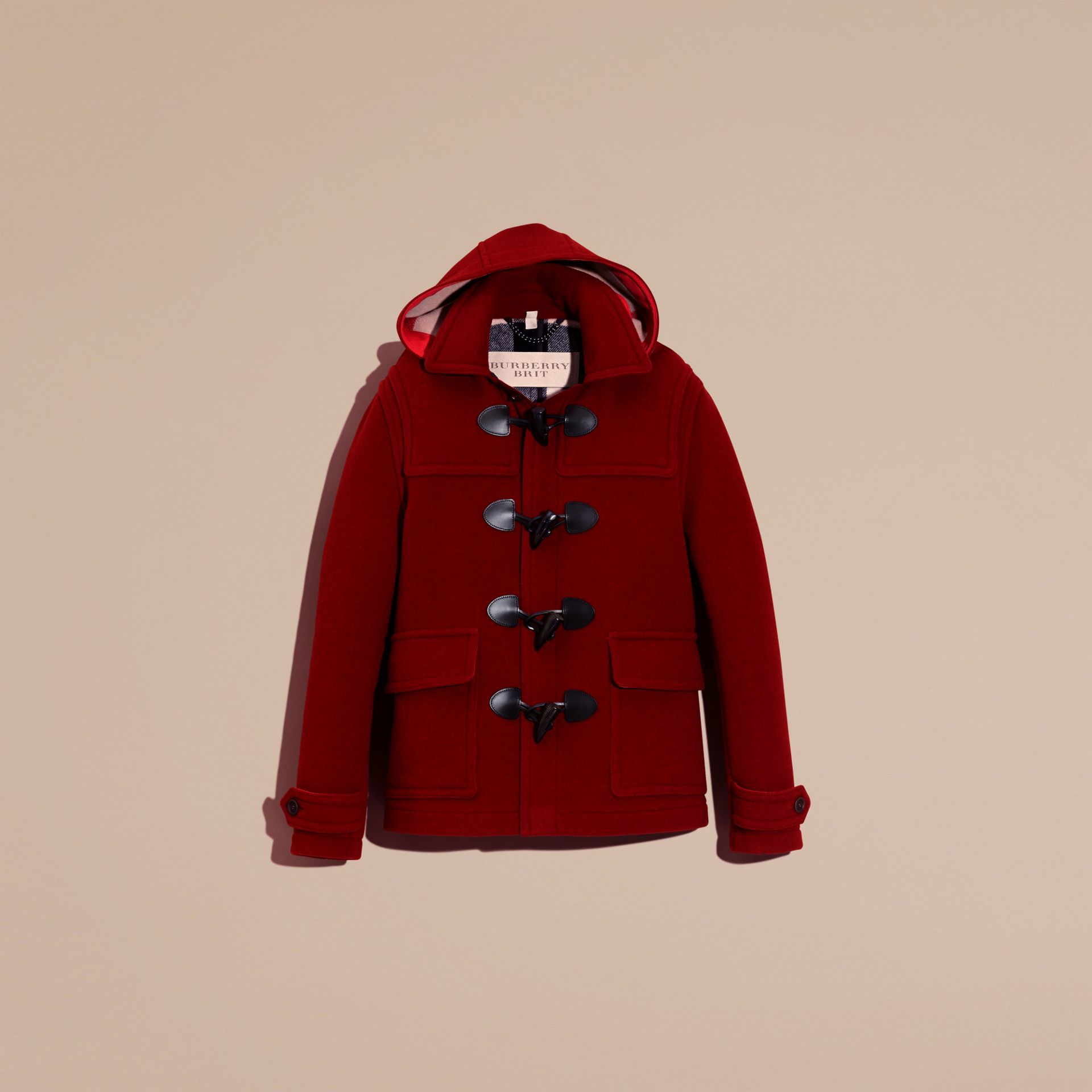 Parade red Wool Detachable Hood Duffle Jacket - gallery image 4