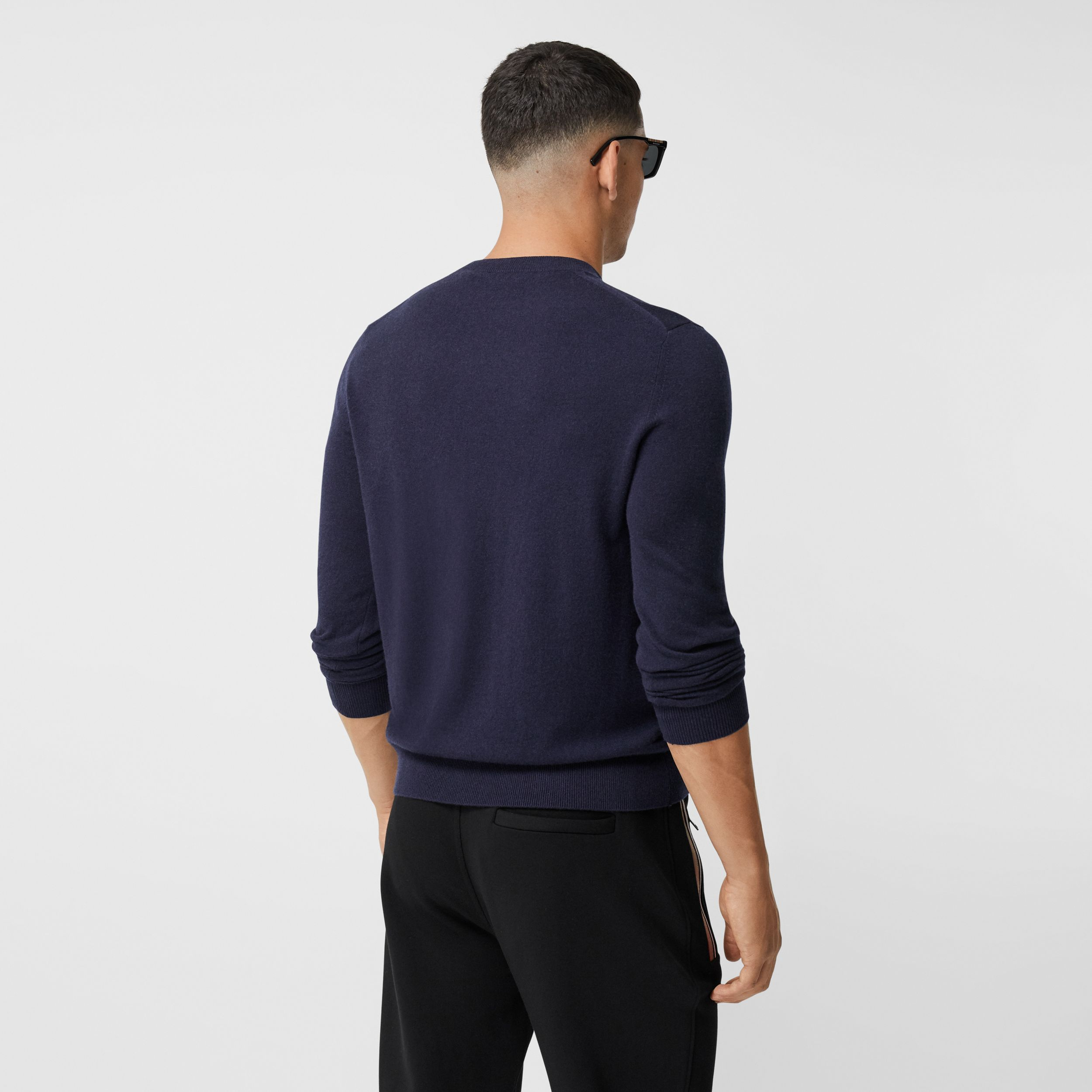 Monogram Motif Cashmere Sweater in Navy - Men | Burberry - 3