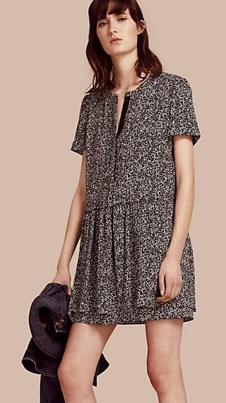 Floral Silk Georgette Shift Dress