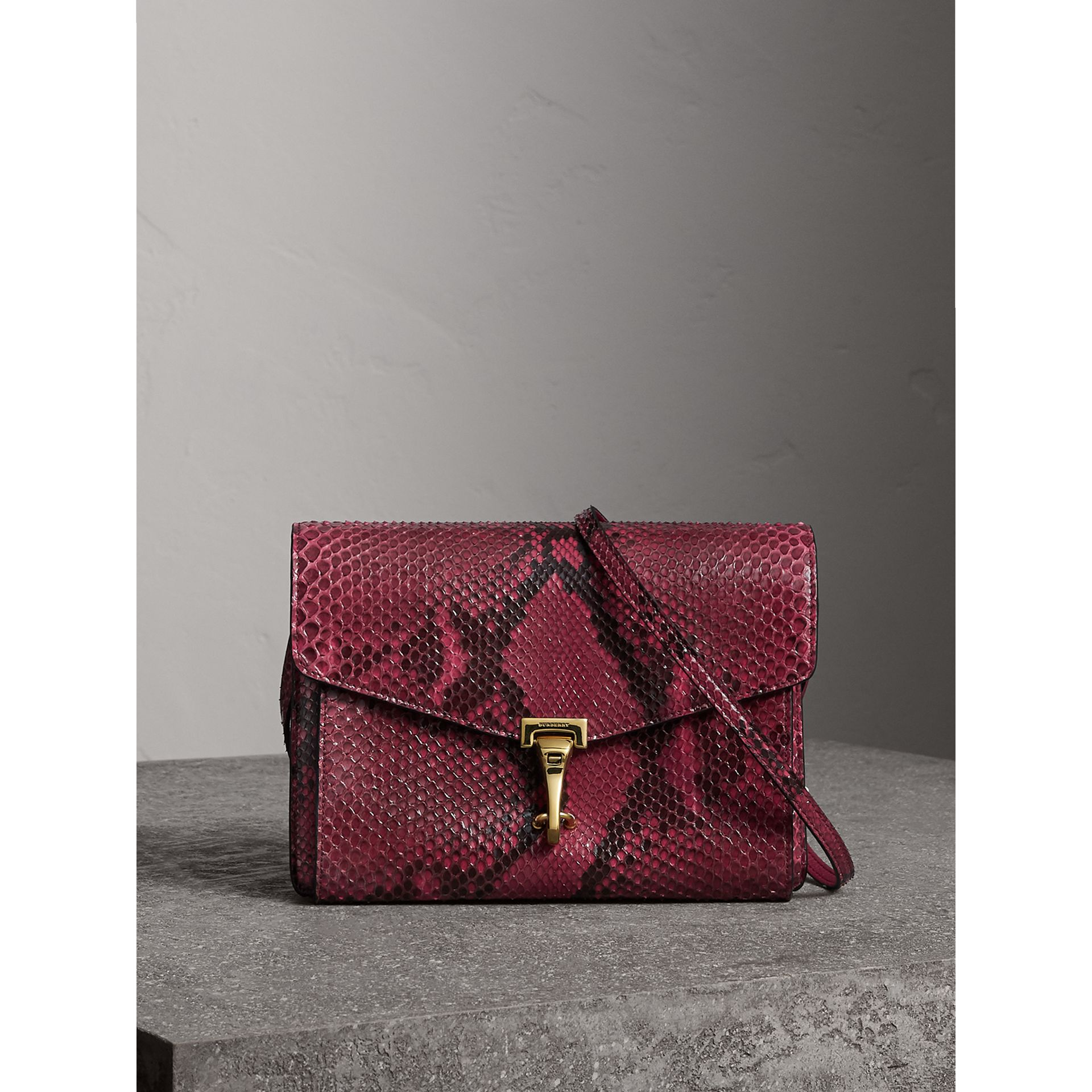 Small Python Crossbody Bag in Claret Pink - Women | Burberry - gallery image 0