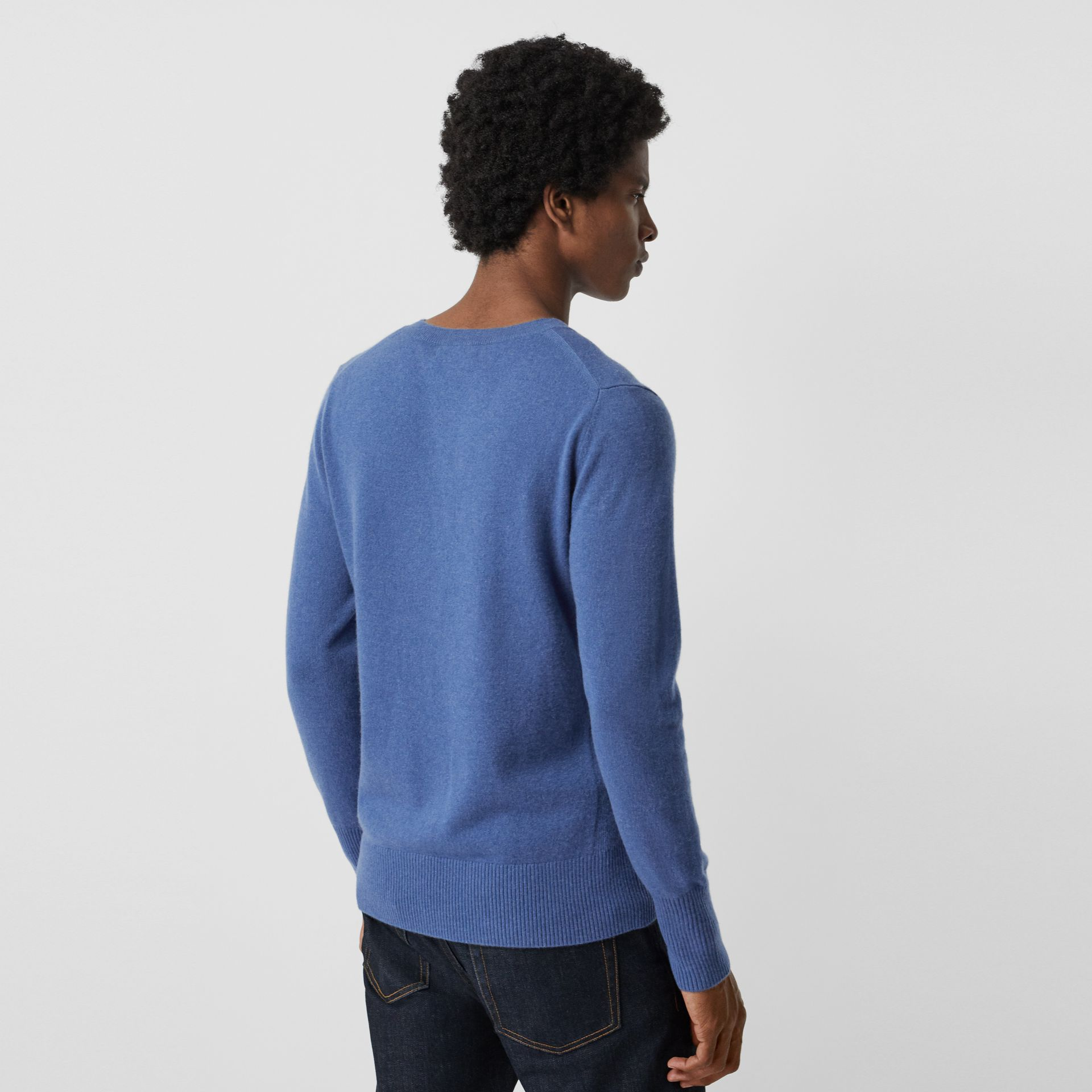 Embroidered Logo Cashmere Sweater in Dusty Blue - Men | Burberry United Kingdom - gallery image 2