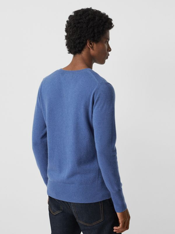 Embroidered Logo Cashmere Sweater in Dusty Blue - Men | Burberry United Kingdom - cell image 2