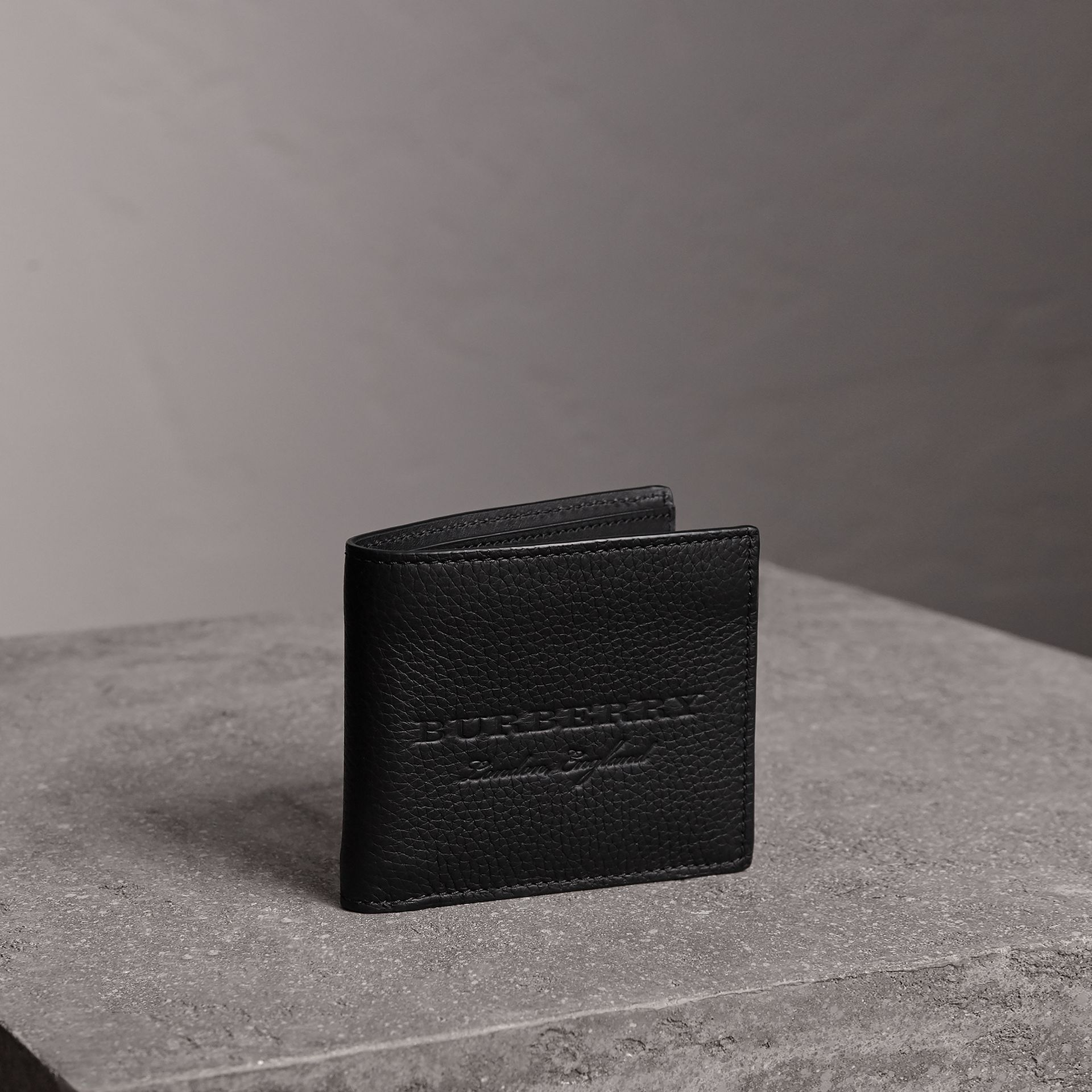 Embossed Leather Bifold Wallet in Black - Men | Burberry United States - gallery image 0