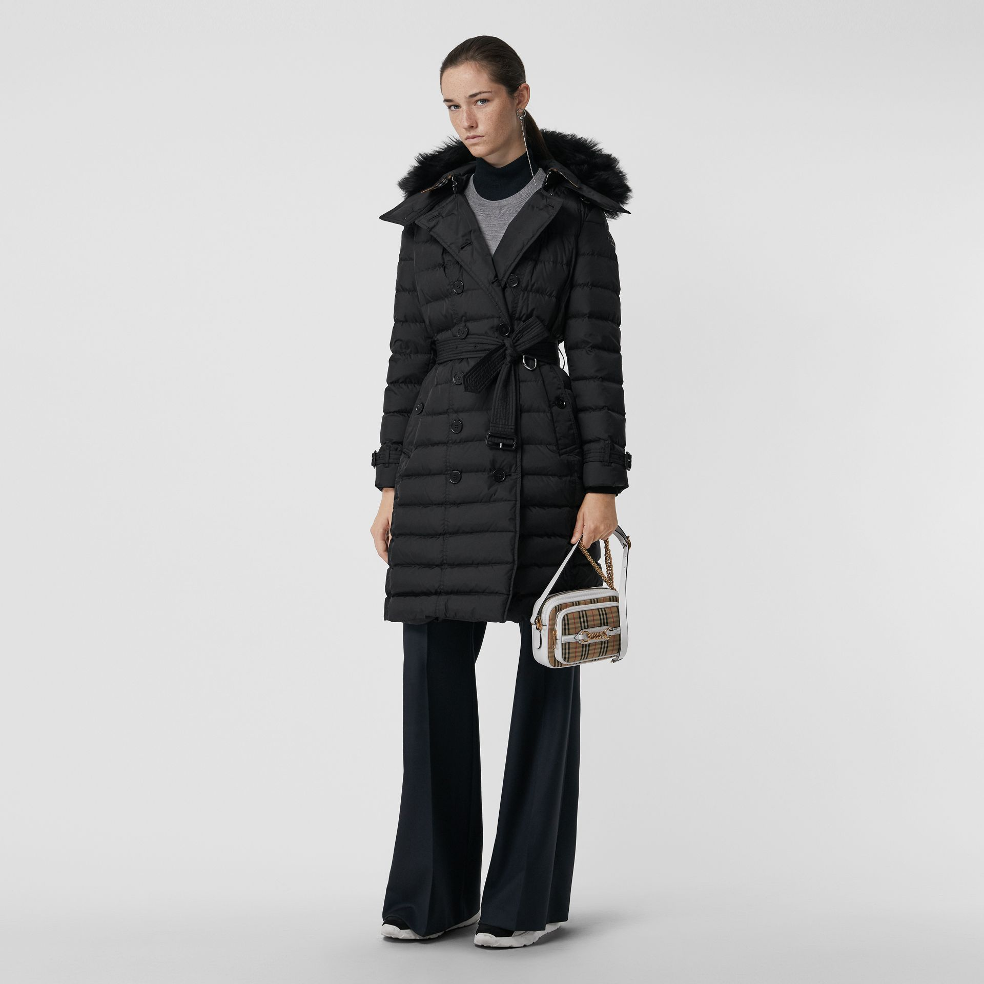 Detachable Hood Down-filled Puffer Coat in Black - Women | Burberry United States - gallery image 0