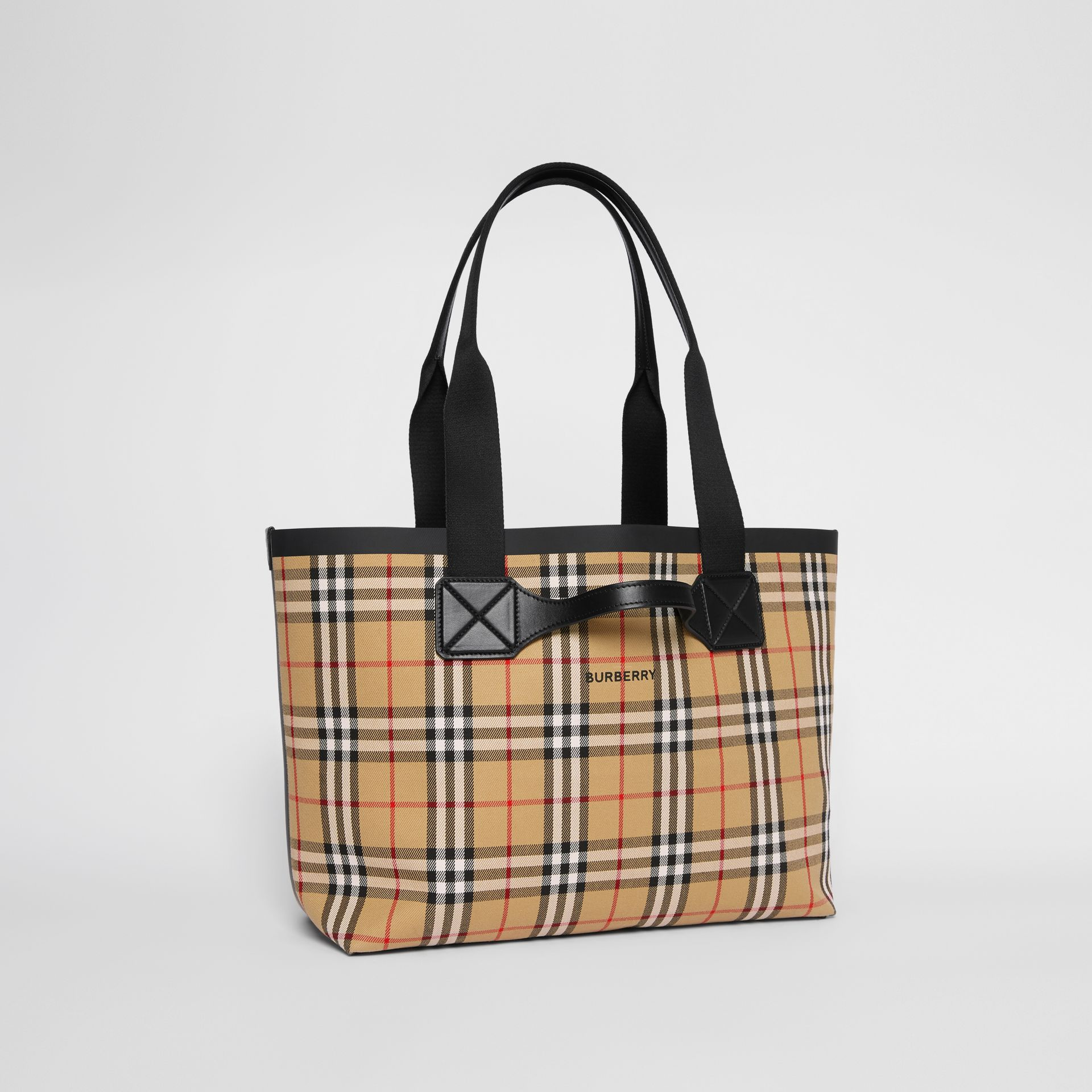 Medium Vintage Check Austen Tote in Archive Beige - Women | Burberry - gallery image 6