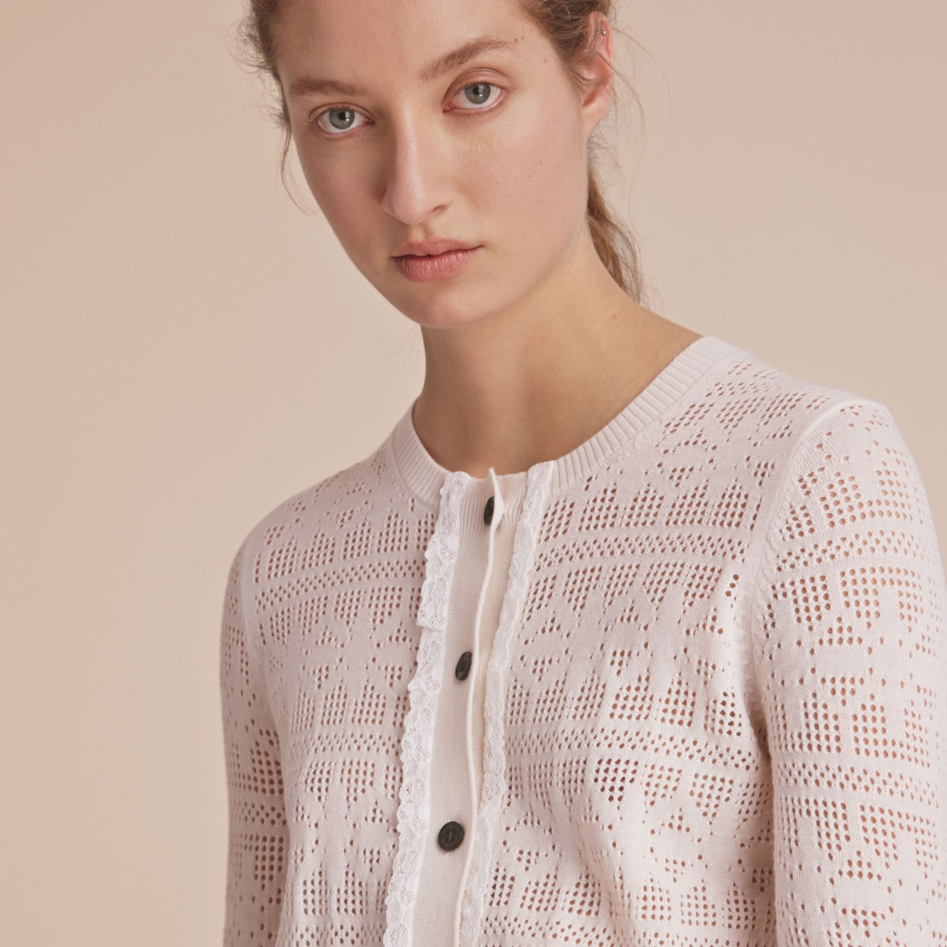Lace Trim Knitted Wool and Cashmere Cardigan - gallery image 5
