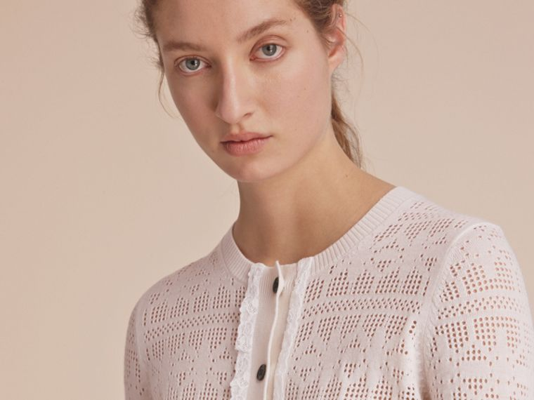 Lace Trim Knitted Wool and Cashmere Cardigan - cell image 4