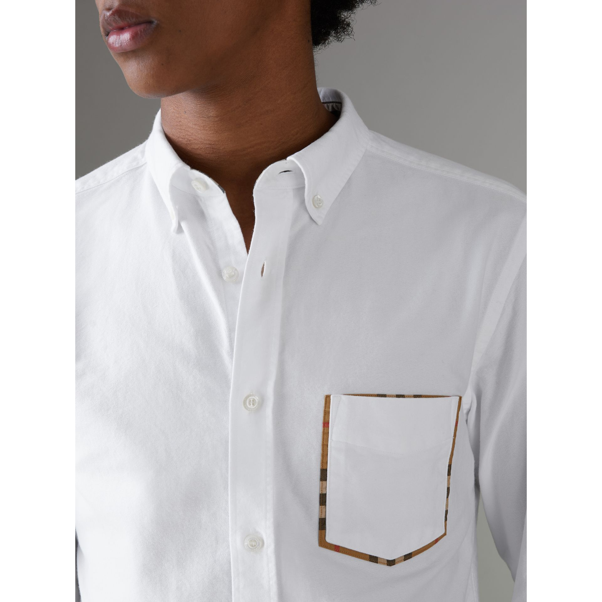 Check Detail Cotton Oxford Shirt in White - Men | Burberry United Kingdom - gallery image 1