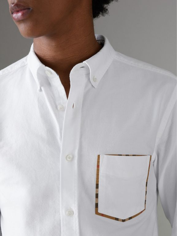 Check Detail Cotton Oxford Shirt in White - Men | Burberry Singapore - cell image 1