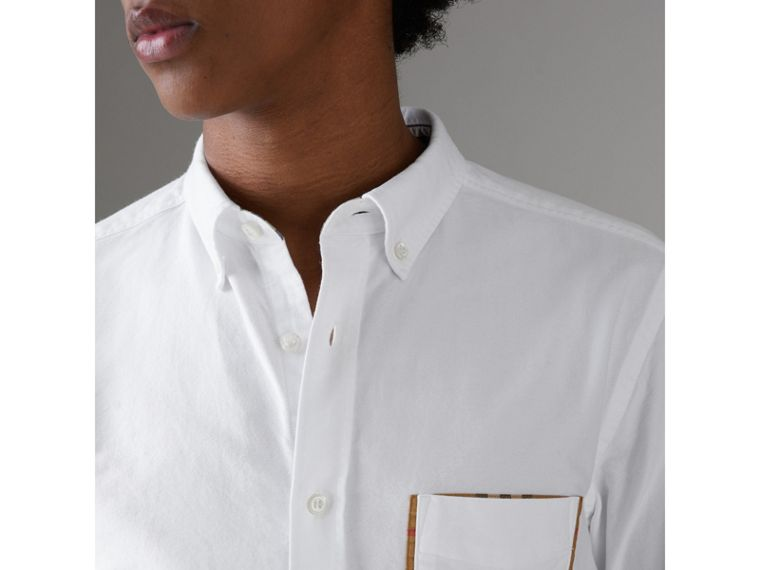 Check Detail Cotton Oxford Shirt in White - Men | Burberry United Kingdom - cell image 1
