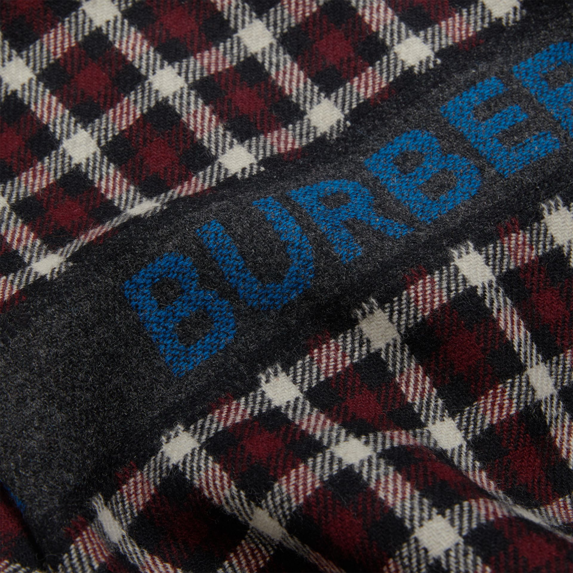 Logo Detail Check Wool Bomber Jacket in Claret | Burberry - gallery image 1