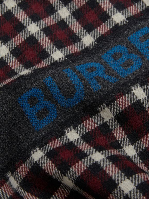 Logo Detail Check Wool Bomber Jacket in Claret | Burberry United Kingdom - cell image 1