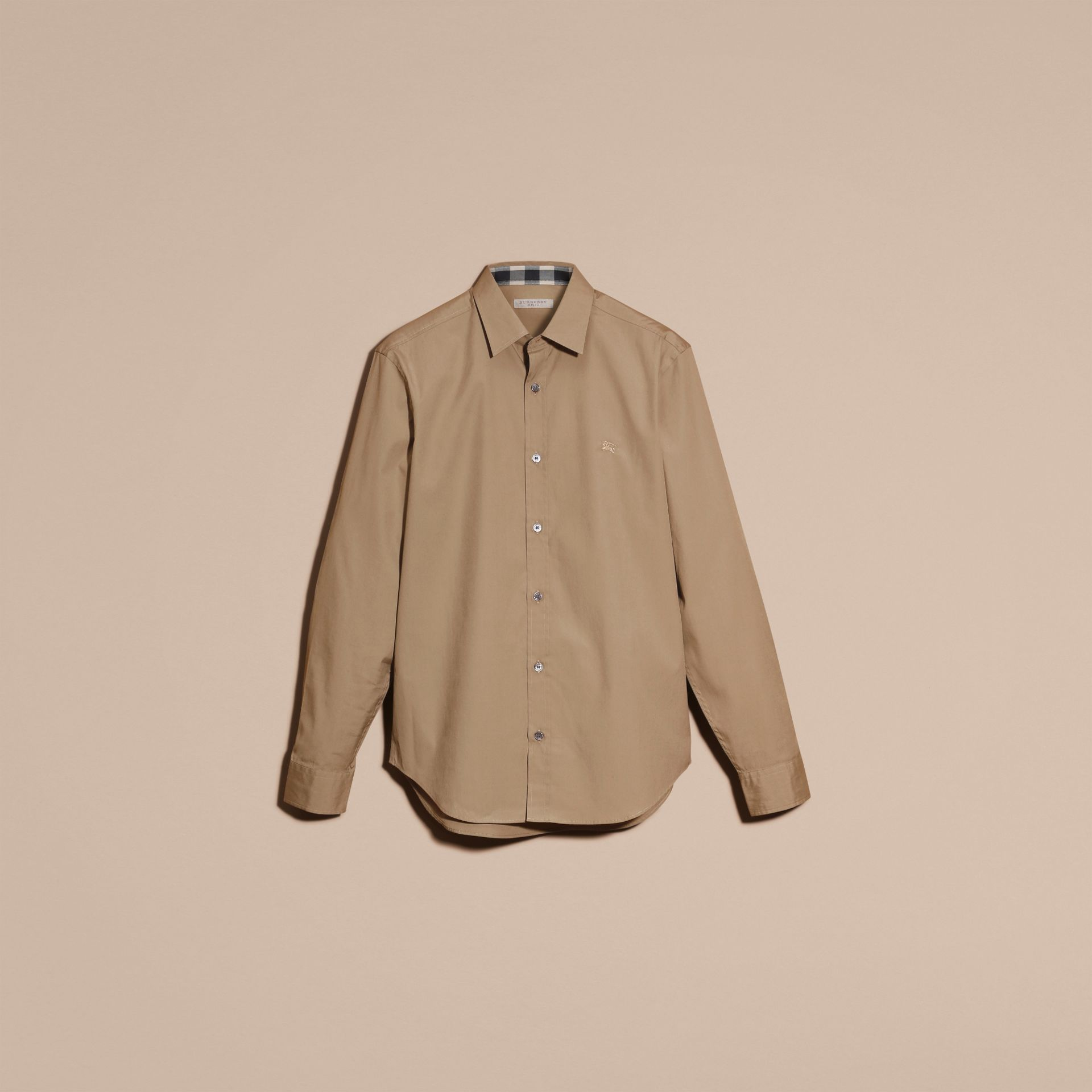 Dark honey Check Detail Stretch Cotton Poplin Shirt Dark Honey - gallery image 4