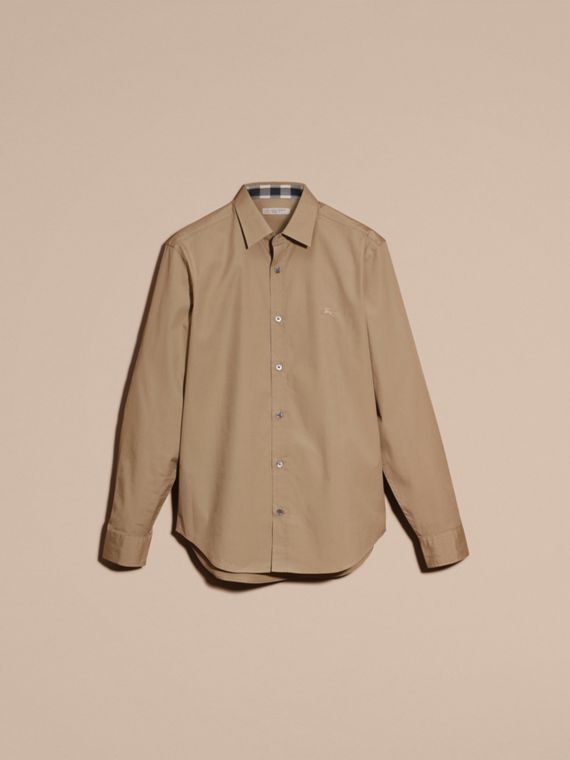 Dark honey Check Detail Stretch Cotton Poplin Shirt Dark Honey - cell image 3