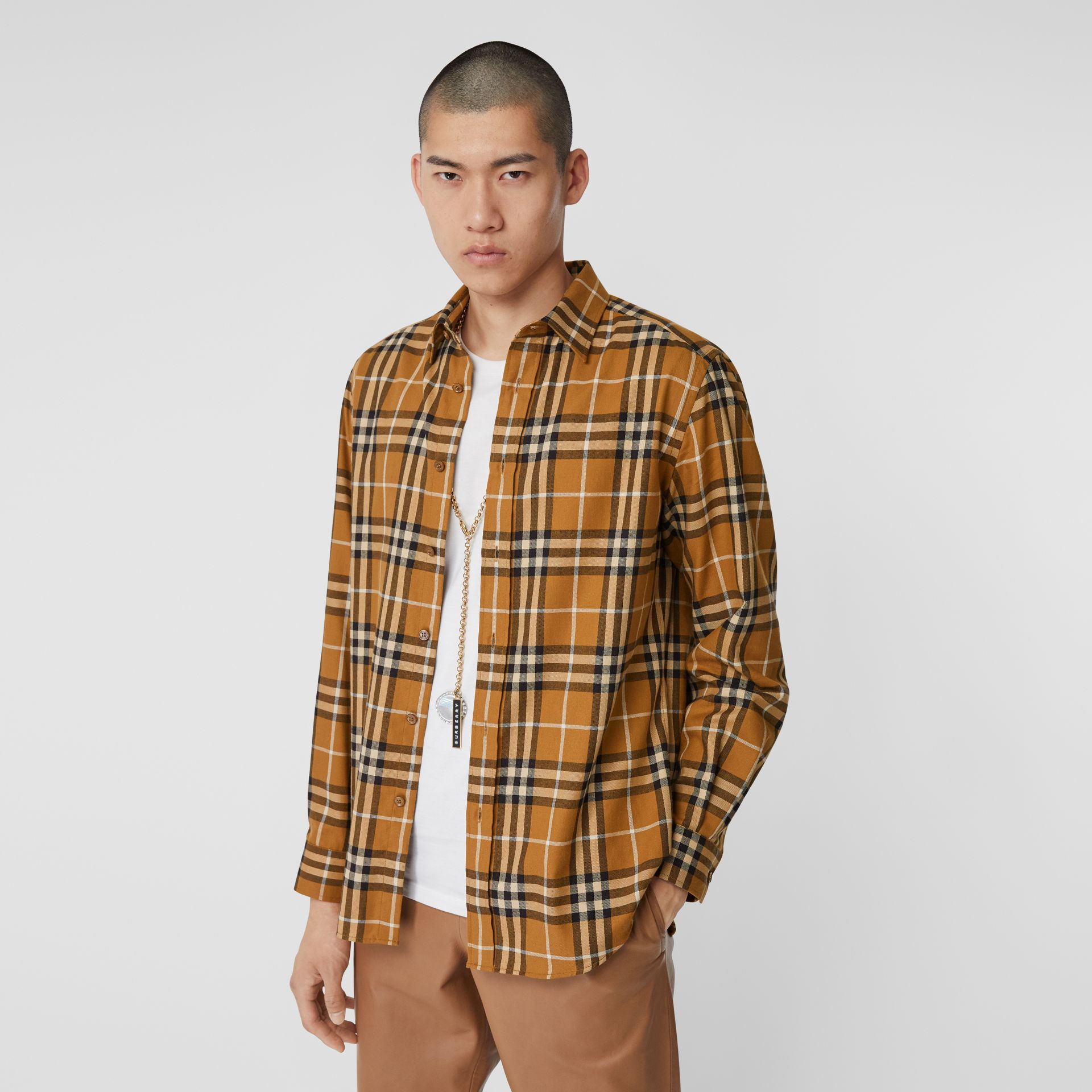 Vintage Check Cotton Flannel Shirt in Warm Walnut - Men | Burberry - gallery image 4