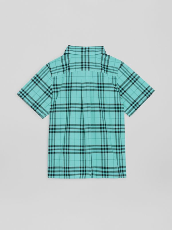 Short-sleeve Check Cotton Shirt in Light Mint | Burberry Hong Kong - cell image 3