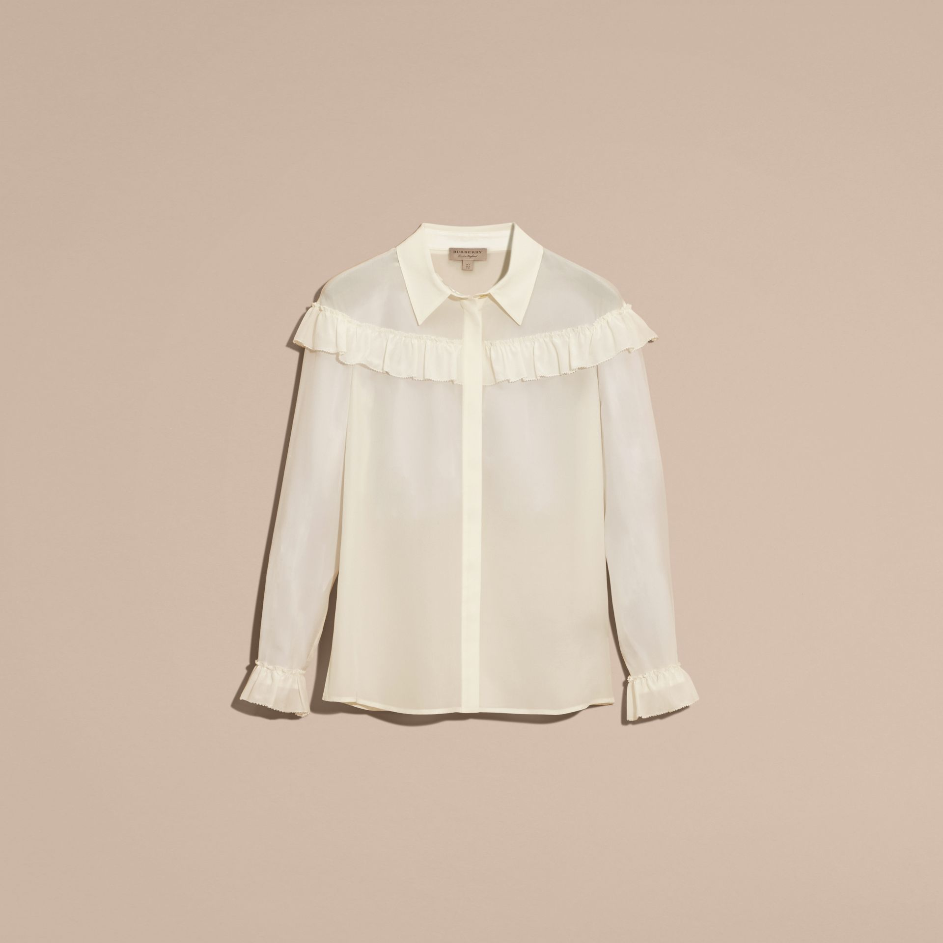Frill Detail Silk Crepe De Chine Shirt in Natural White - gallery image 4