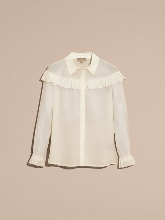 Frill Detail Silk Crepe De Chine Shirt in Natural White - cell image 3