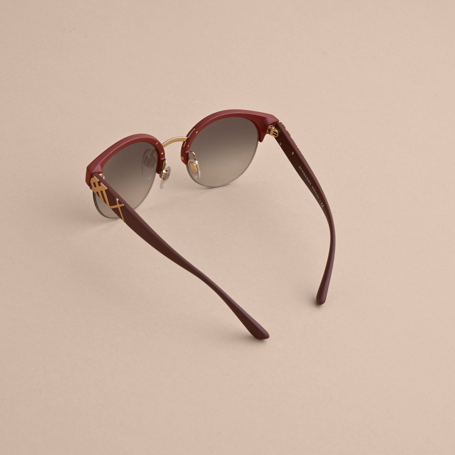 Check Detail Round Half-frame Sunglasses in Burgundy - Women | Burberry - gallery image 4