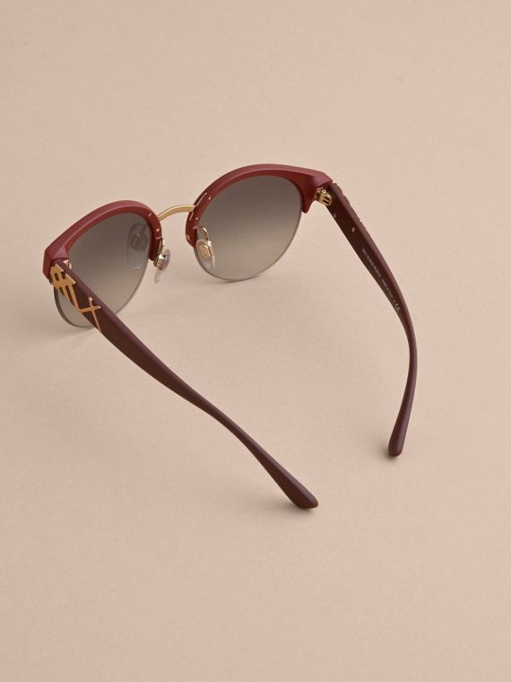 Check Detail Round Half-frame Sunglasses in Burgundy - Women | Burberry - cell image 3