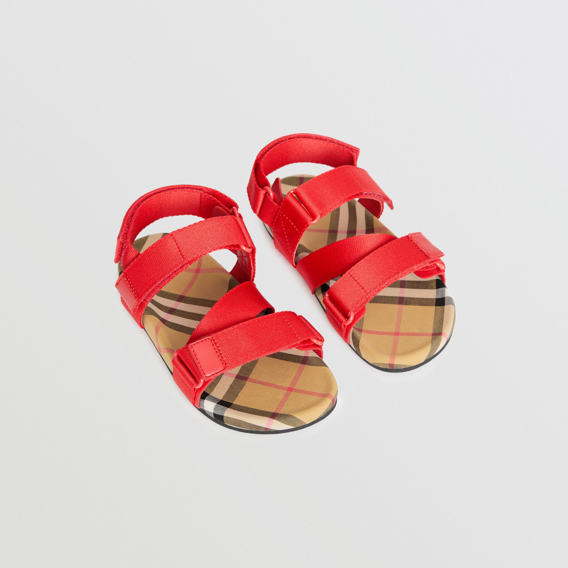 Ripstop Strap Vintage Check Cotton Sandals in Bright Red/antique Yellow - Children | Burberry United States - gallery image 0