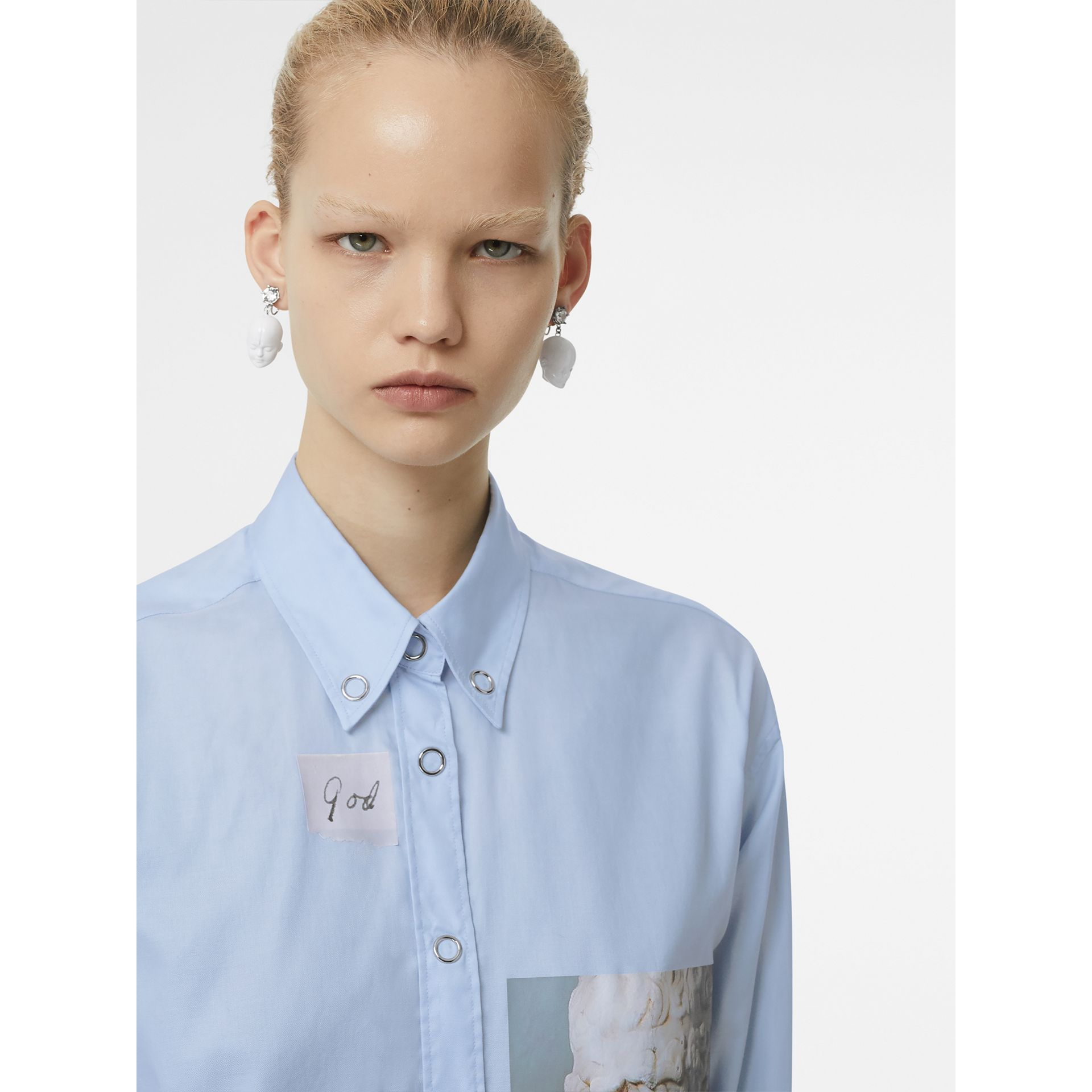 Press-stud Collar Montage Print Cotton Shirt in Pale Blue - Women | Burberry - gallery image 1