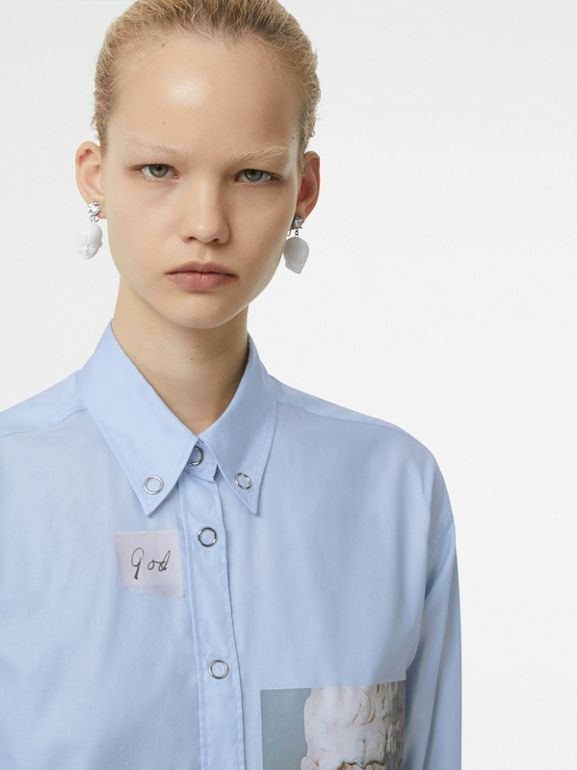 Press-stud Collar Montage Print Cotton Shirt in Pale Blue - Women | Burberry - cell image 1