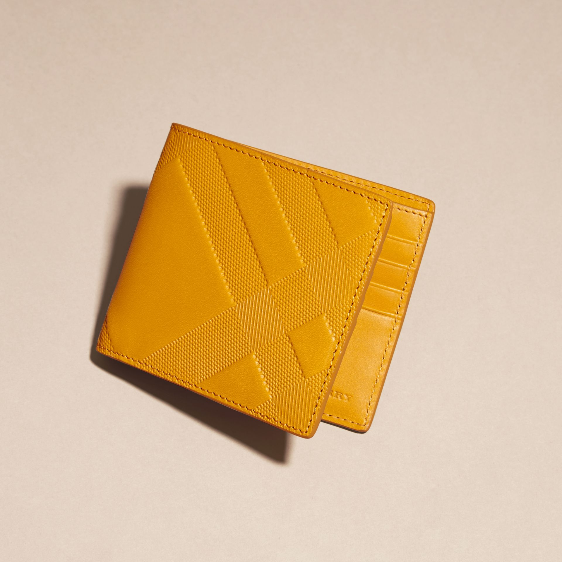 Amber yellow Check-embossed Leather Folding Wallet Amber Yellow - gallery image 3