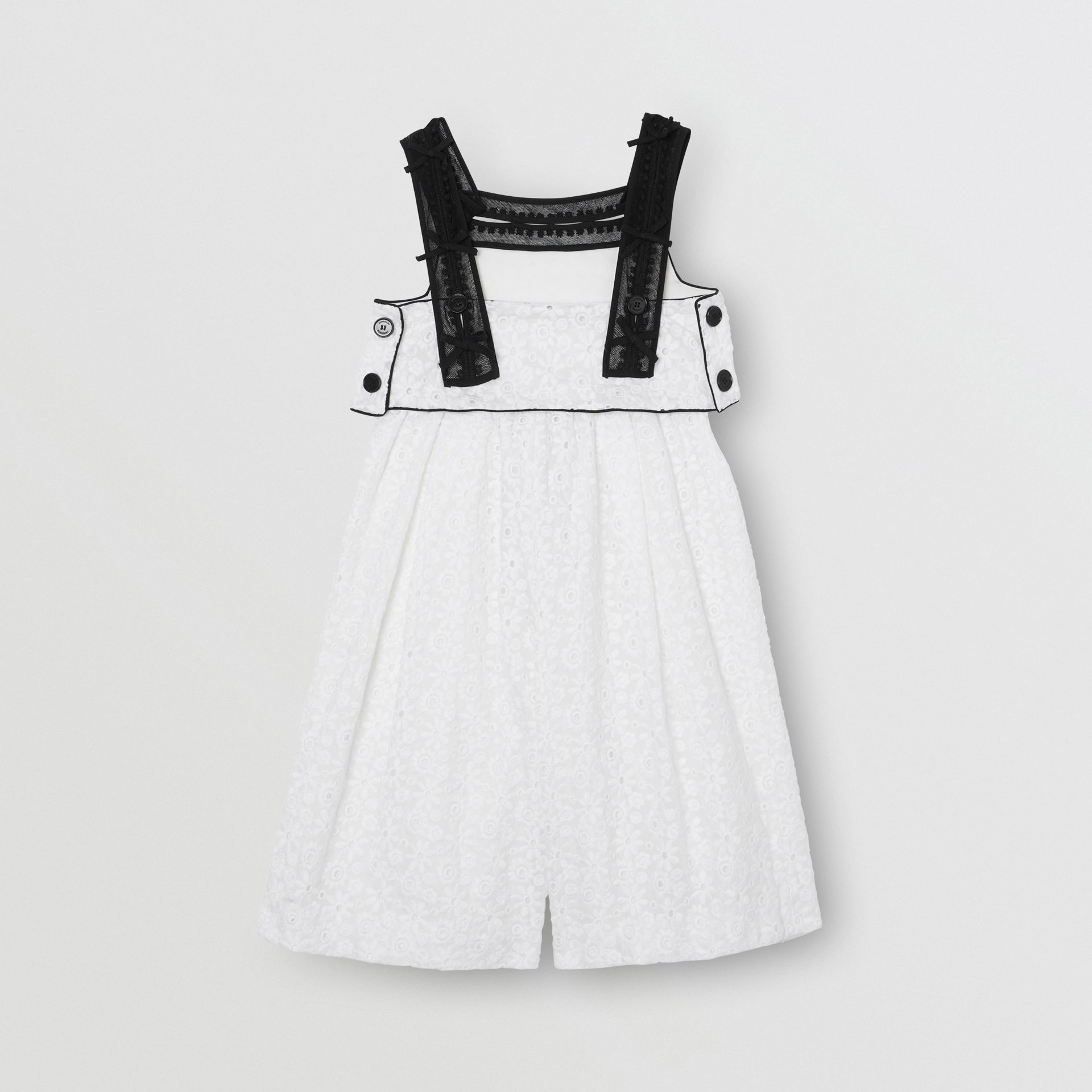 Lace Trim Embroidered Cotton Sailor Jumpsuit in White - Children | Burberry - gallery image 3