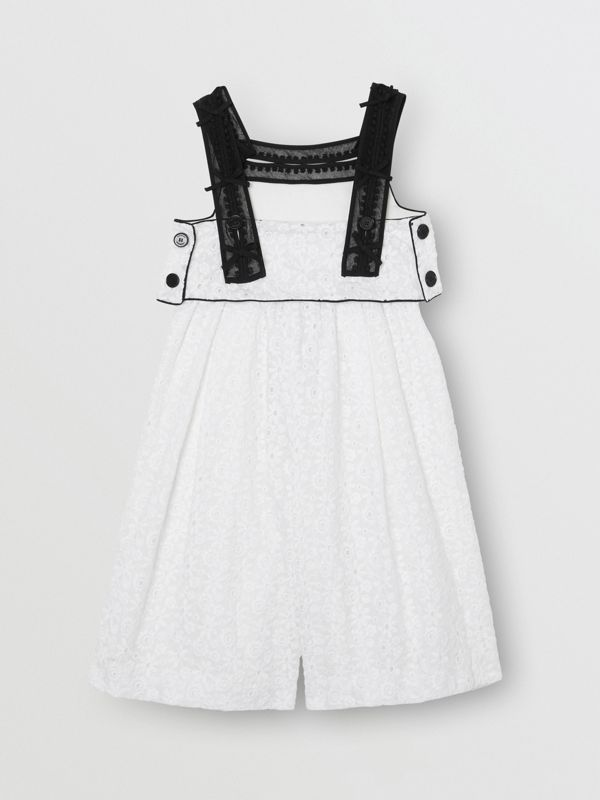 Lace Trim Embroidered Cotton Sailor Jumpsuit in White - Children | Burberry - cell image 3