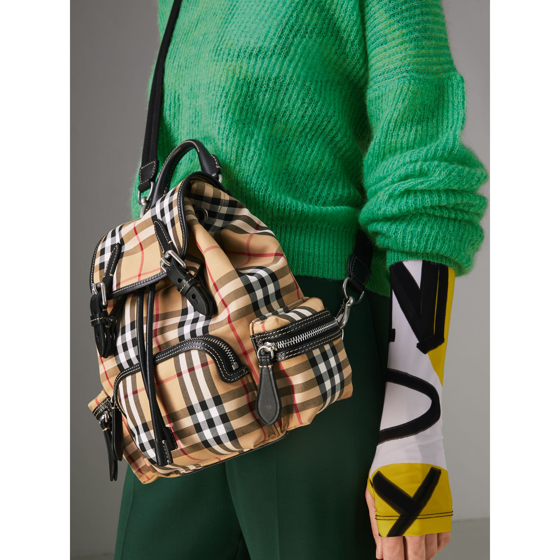 The Small Rucksack in Vintage Check and Leather in Antique Yellow - Women | Burberry Hong Kong - gallery image 3