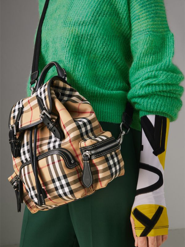 The Small Rucksack in Vintage Check and Leather in Antique Yellow - Women | Burberry Canada - cell image 3